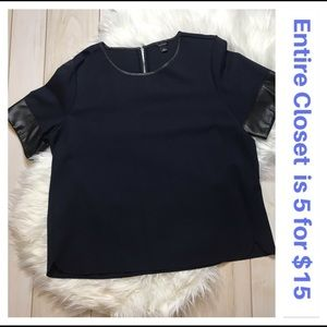 Ann Taylor Navy & Black Faux Leather Sleeve Top